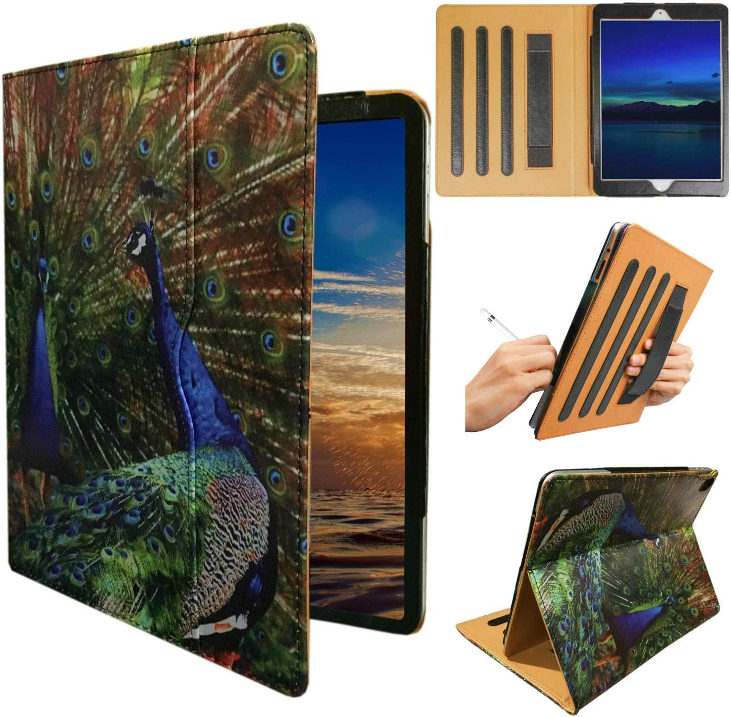 ipad 9.7 pro A1673 case, iPad Pro A1674 Cover, ipad Handle Hand Strap Stand Folio Case Case with Sleep/Wake Function for 2016 Released 9.7 Inch iPad Pro (Bird Designs)