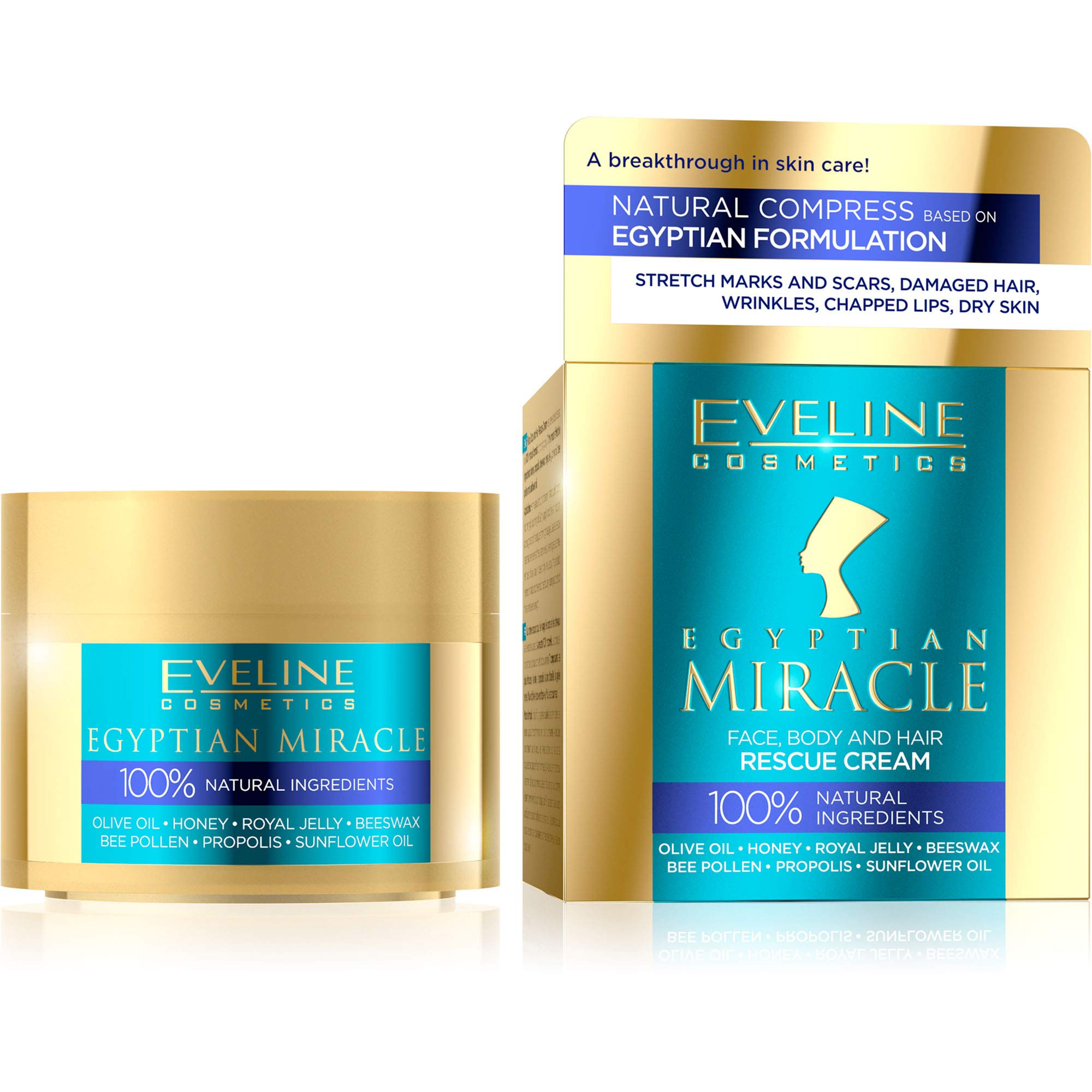 Eveline Cosmetics Egyptian Miracle - Face, Body and Hair Universal Rescue Cream | 40 ML | Natural Ingredients | Complex Care | Healing Properties | All-purpose Lotion | Soft Supple Skin | Shiny Hair