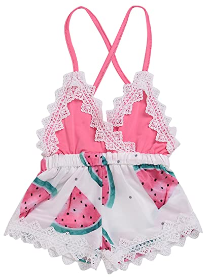 54f5776df59 Summer Toddler Baby Girl Clothes Cute Watermelon Print Lace Trim Backless  Romper Shorts Jumpsuit (Pink