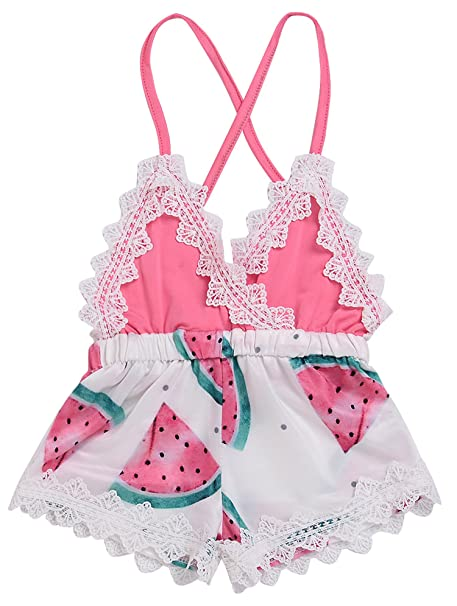 5403e929b9e7 Summer Toddler Baby Girl Clothes Cute Watermelon Print Lace Trim Backless  Romper Shorts Jumpsuit (Pink