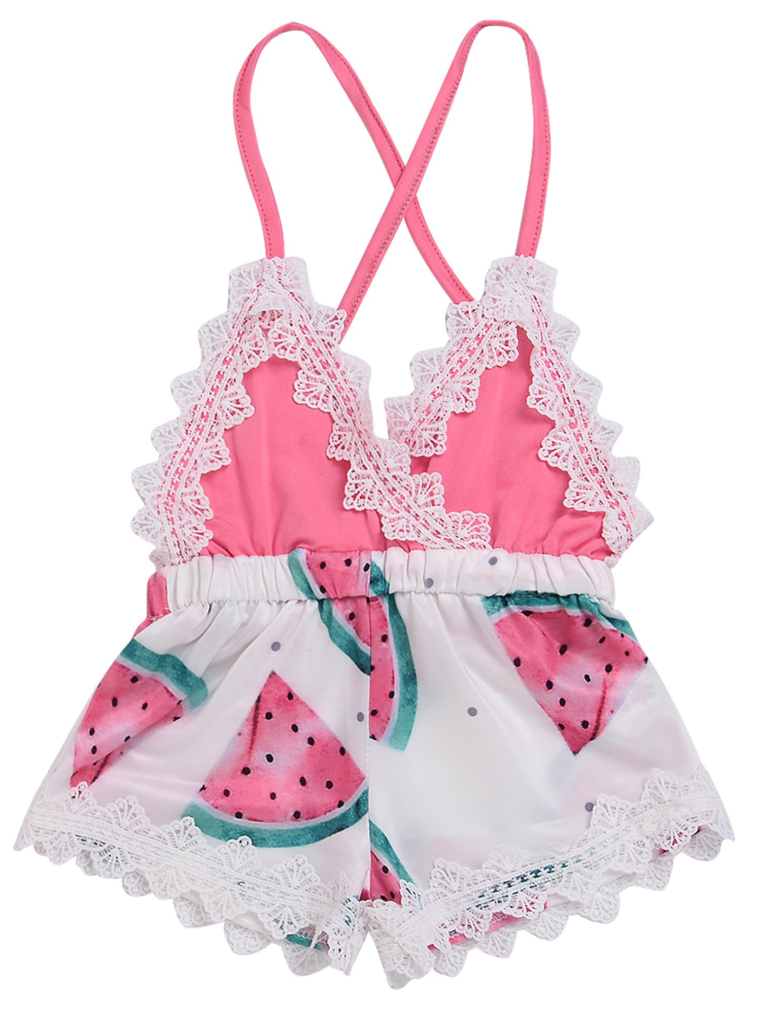 2018 Summer Toddler Baby Girl Clothes Cute Watermelon Print Lace Trim Backless Romper Shorts Jumpsuit (Pink, 12-18 Months)
