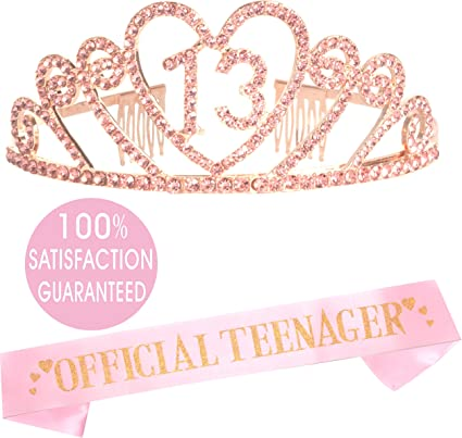 13th Birthday Decoration Party Supplies 13th Birthday Tiara and Sash,