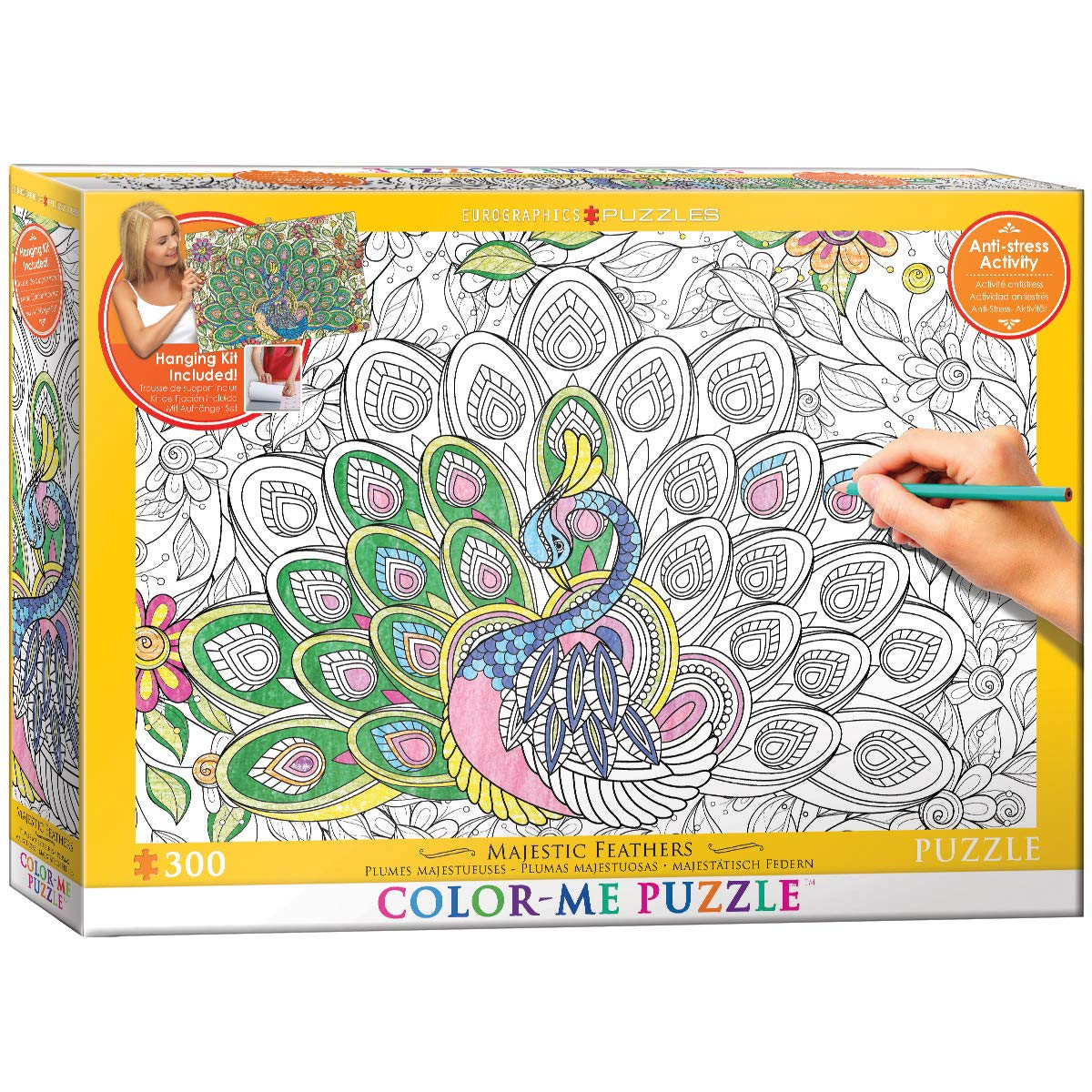 EuroGraphics Majestic Feathers Color Me Puzzle (300 Piece)