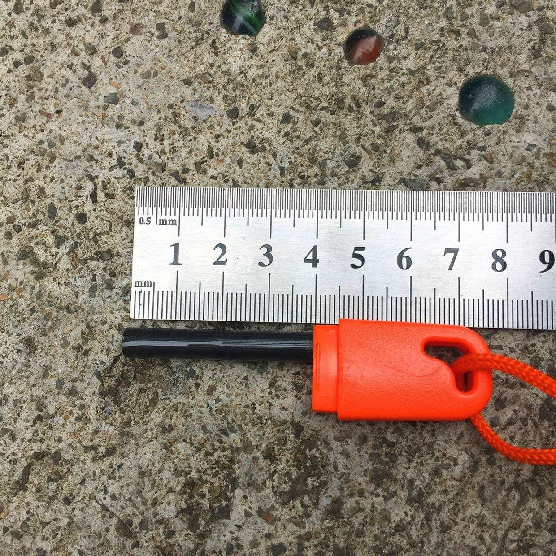 YUIO Wild Survival pedernal de emergencia palo al aire libre de magnesio tira de fuego con rascador dentado U disco pedernal al azar