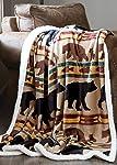 Carstens, Inc Carstens Bear Family Rustic Cabin Sherpa Fleece 54x68 Throw Blanket Brown