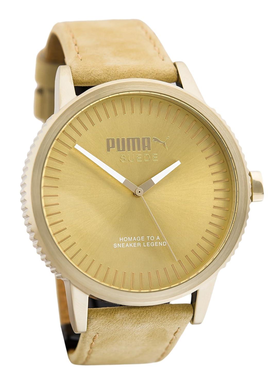 144177eee42 Amazon.com  Puma Suede Men Beige Leather watch-PU104101009  Watches
