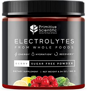 Primitive Scientific Whole Food Electrolyte Powder (Berry Flavor) Sugar Free, Vegan Electrolyte Supplement for Energy Boosts, Rapid Hydration and Rejuvenation with Calcium, Magnesium, and More