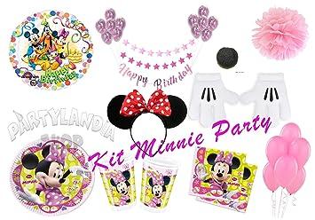 Partylandia Kit de Fiesta de cumpleaños Minnie para 16 ...