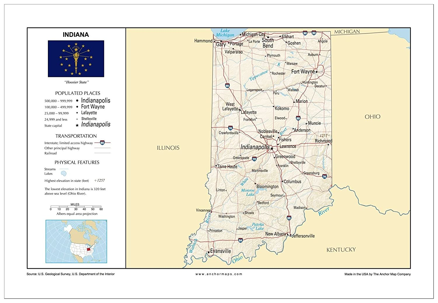 Amazon.com : 13x19 Indiana General Reference Wall Map ...