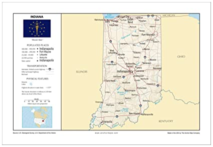Amazon.com : 13x19 Indiana General Reference Wall Map - Anchor Maps ...