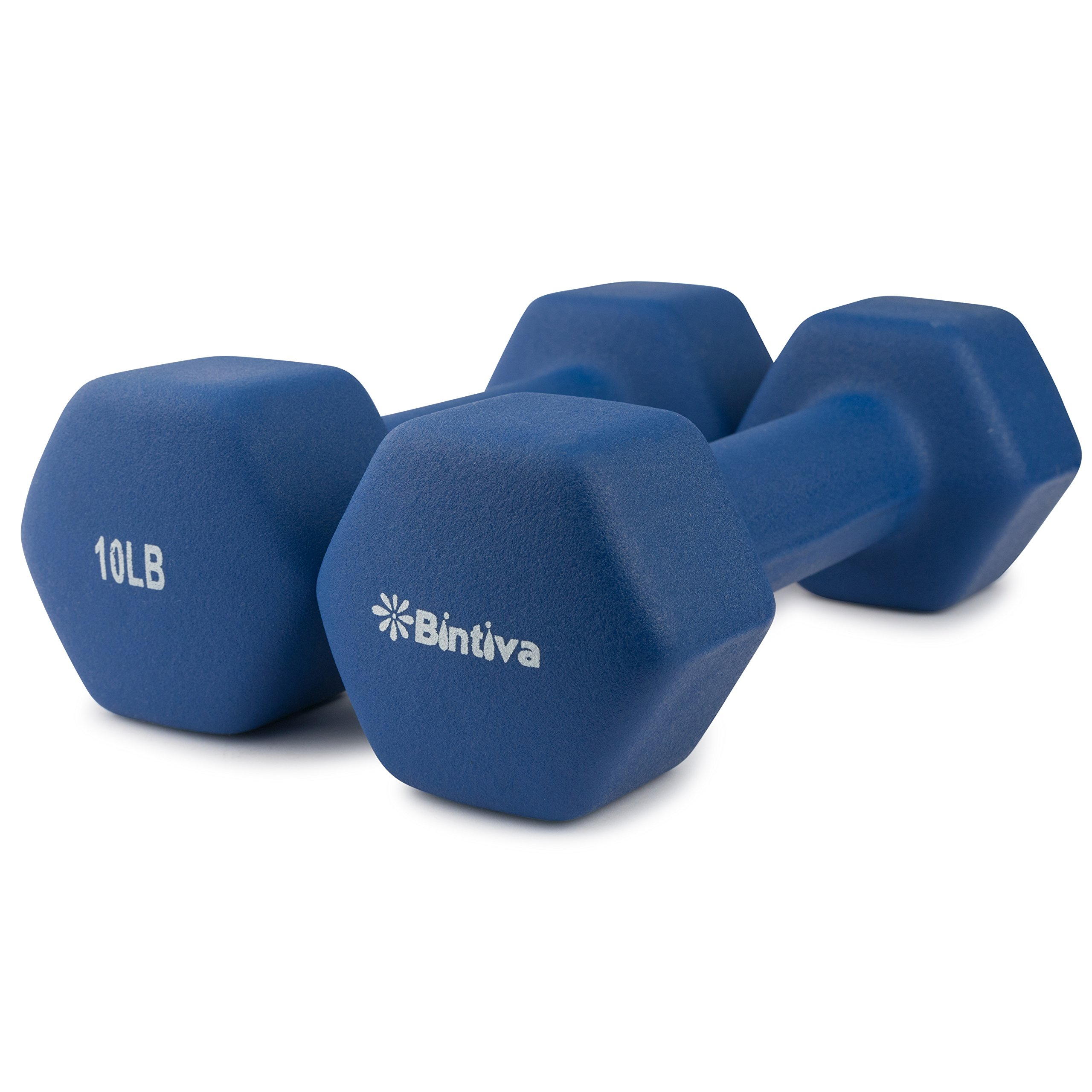Bintiva Professional Grade, Non Slip Grip, Neoprene Coated Dumbbells 10 LB Pair - Blue