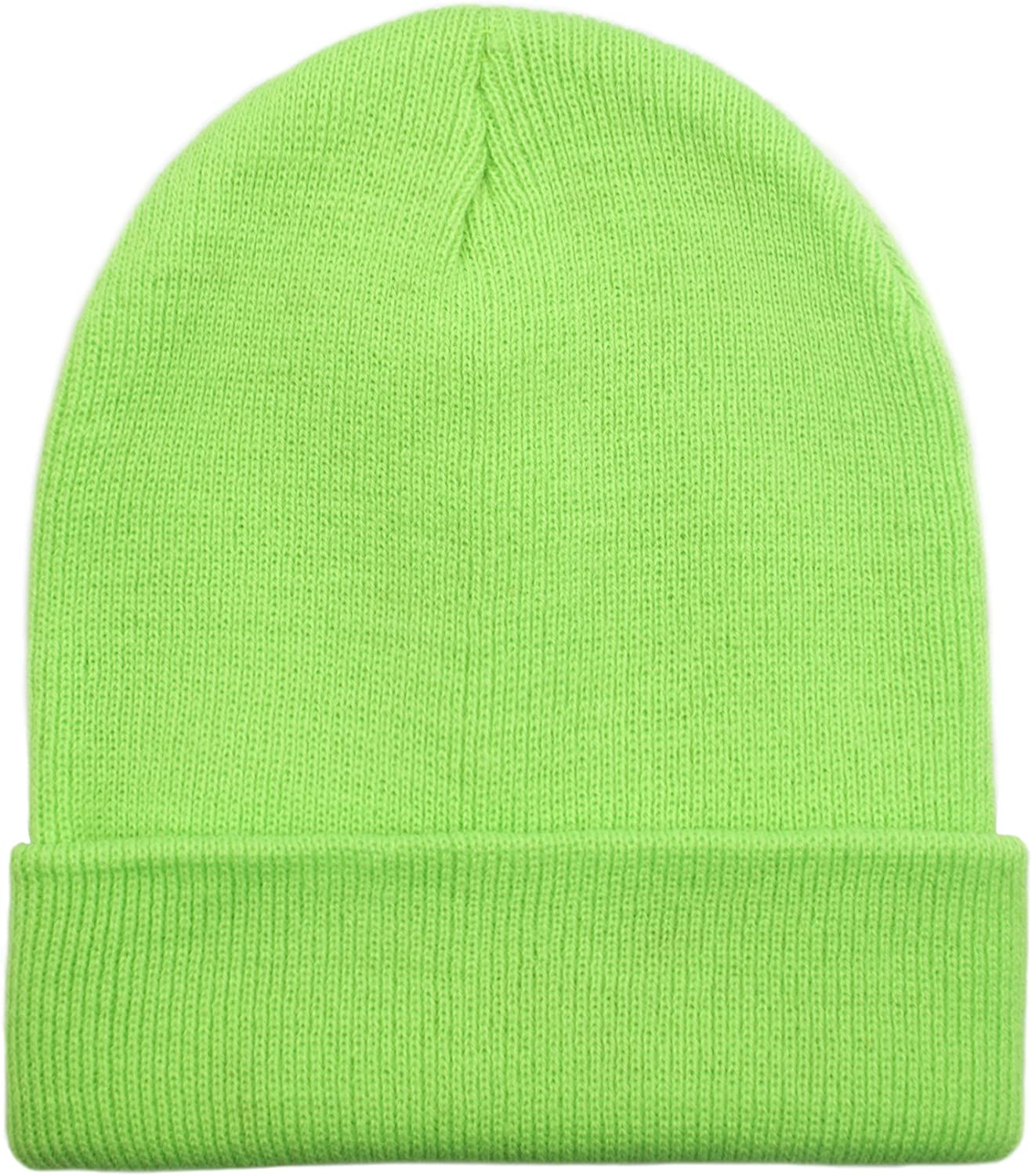 Acrylic Heavyweight Long Cuff Beanie Cap 10.5 inches-Neon Green Price//96 PCS Opromo