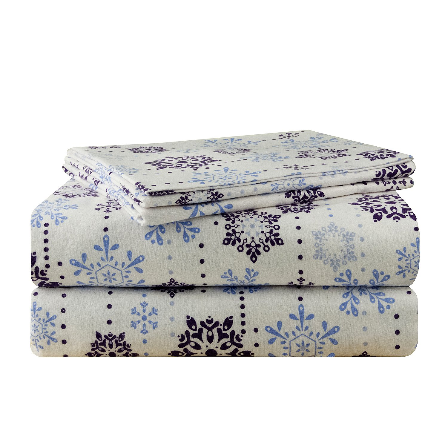 Pointehaven 200 GSM Flannel Sheet Set, Twin, Printed, Snow Drop