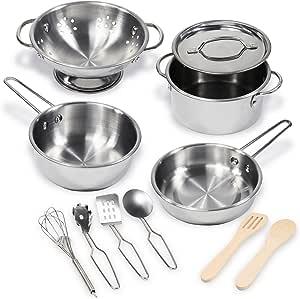 Kidzaro 11 Pcs Pretend Play Kitchen Cookware Set Stainless Steel Pots & Pans Bundle for Kids - Includes Drainer, Utensils & Accessories