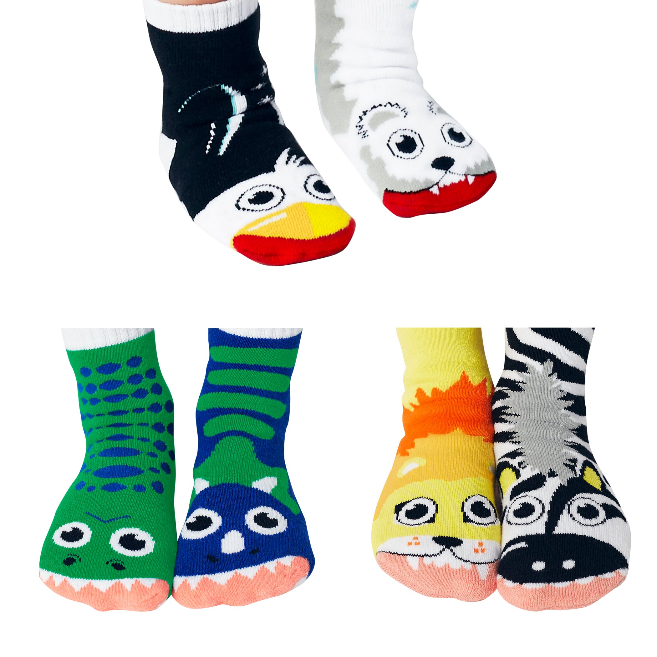 Lion and Zebra, T-Rex and Triceratops, Polar Bear and Penguin - Toddler Sock Set - Mighty Mates Mismatched Friends 3-Pack by Pals Socks (Image #1)