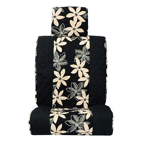 ココトリコ 前座席用 シートカバー ブラック北欧花柄×ワッフルブラック