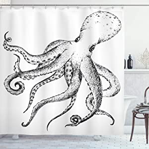 "Ambesonne Octopus Shower Curtain, Hand Drawn Image of Octopus Marine Wildlife Nature Print Nautical Themed Artwork, Cloth Fabric Bathroom Decor Set with Hooks, 70"" Long, White Black"
