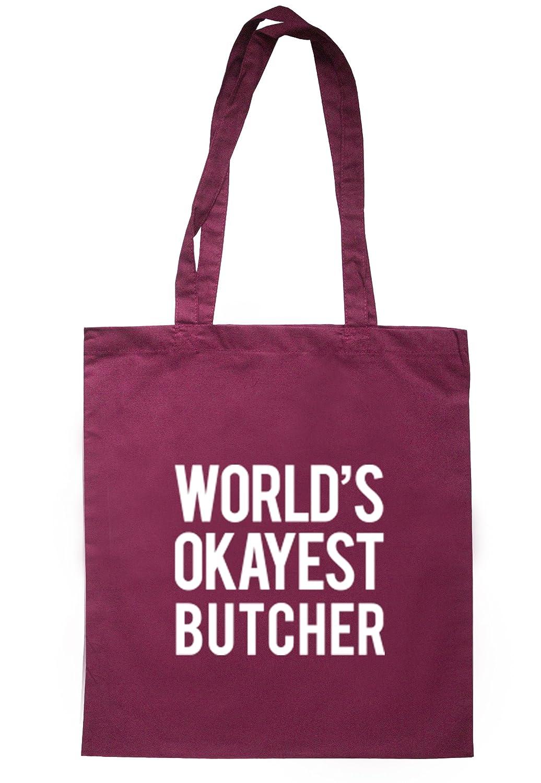 illustratedidentity World's Okayest Butcher Tote Bag 37.5cm x 42cm with long handles TB0306-TB-NV