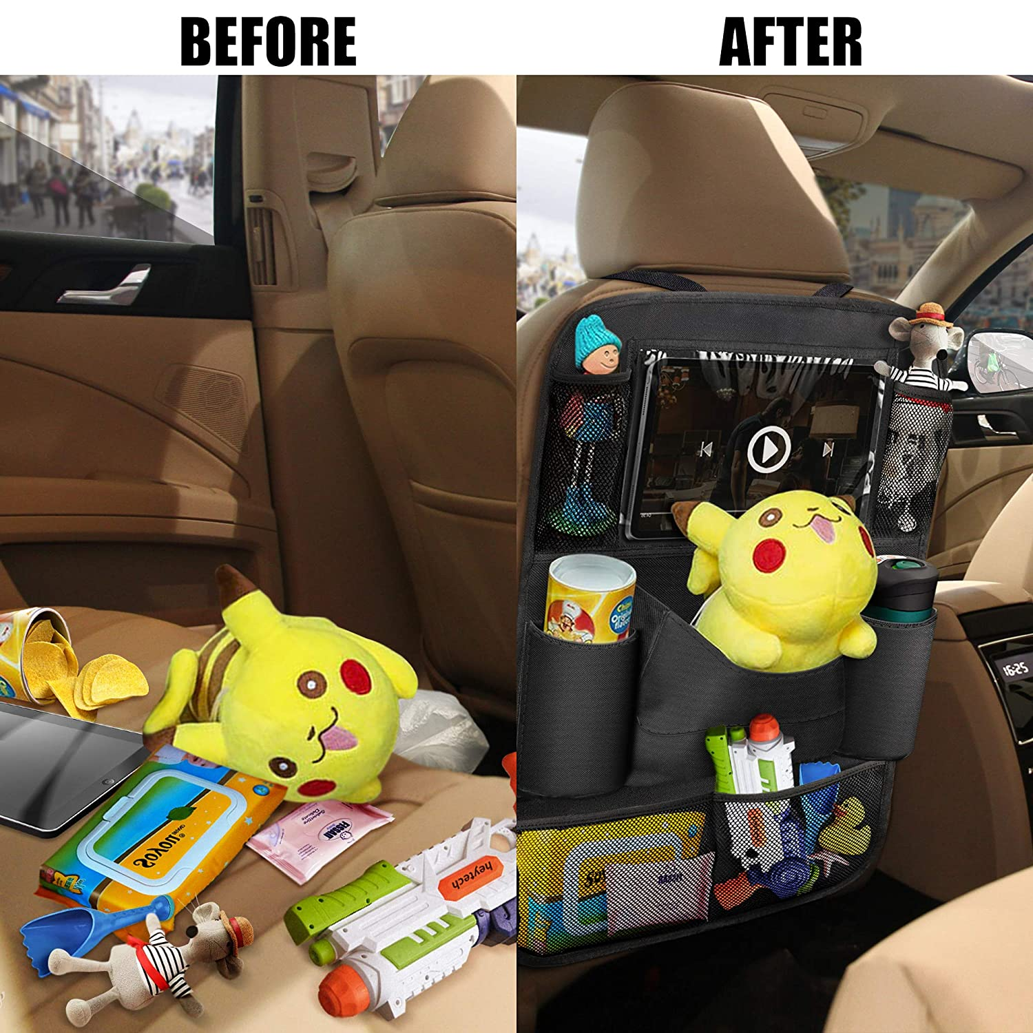 Kick Mats Car Back Seat Protector with Touch Screen Tablet Holder Tissue Box 8 Storage Pockets for Toys Book Bottle Drinks Kids Baby Toddler Travel Accessories 2 Pack OYRGCIK Backseat Car Organizer