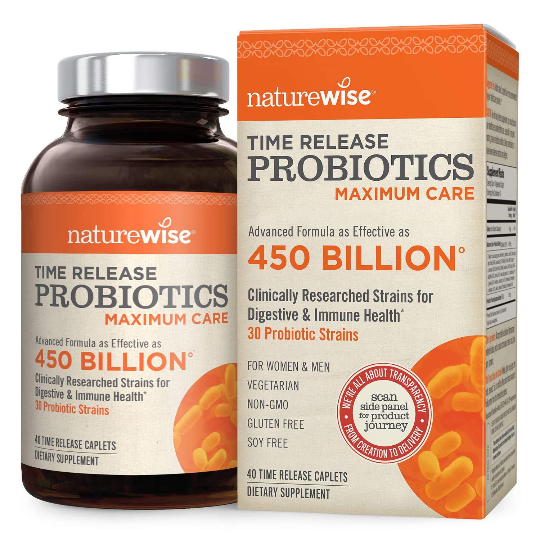 NatureWise Maximum Care Time-Release Probiotics: 30 Strains, 30 Billion CFU, Comparable to 450 Billion CFU with WiseBiotics Technology, Shelf Stable, Acid Resistant, 40 Caplets