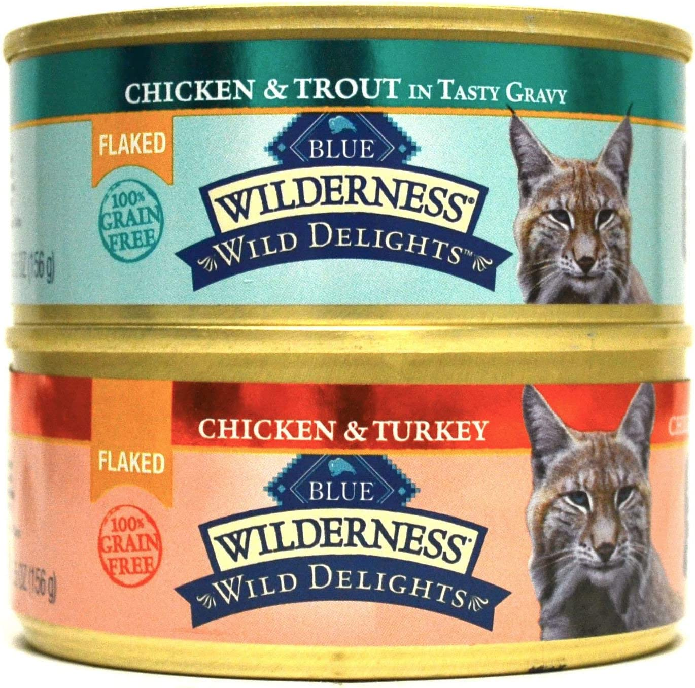 Blue Wilderness Grain-Free Wild Delights Flaked Cat Food Variety Pack Box - 2 Flavors (Chicken & Trout & Chicken & Turkey) - 12 (5.5 Ounce) Cans - 6 of Each Flavor