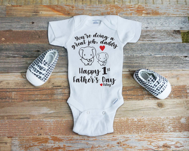 Happy Baby Custom BabyGrow Vest Bodysuit Cute First Fathers Day