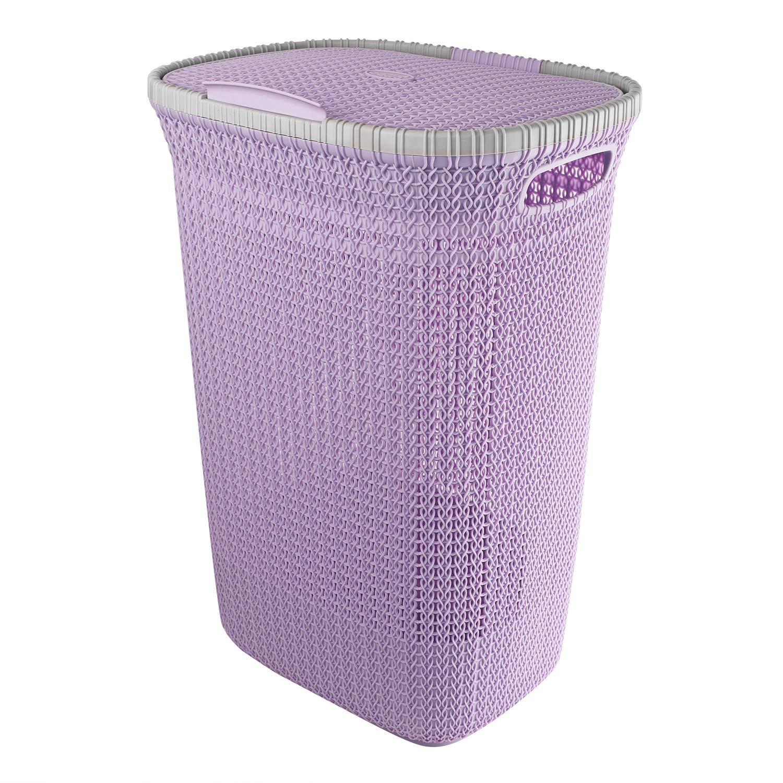 Cello Creta Plastic Laundry Basket With Lid, Violet
