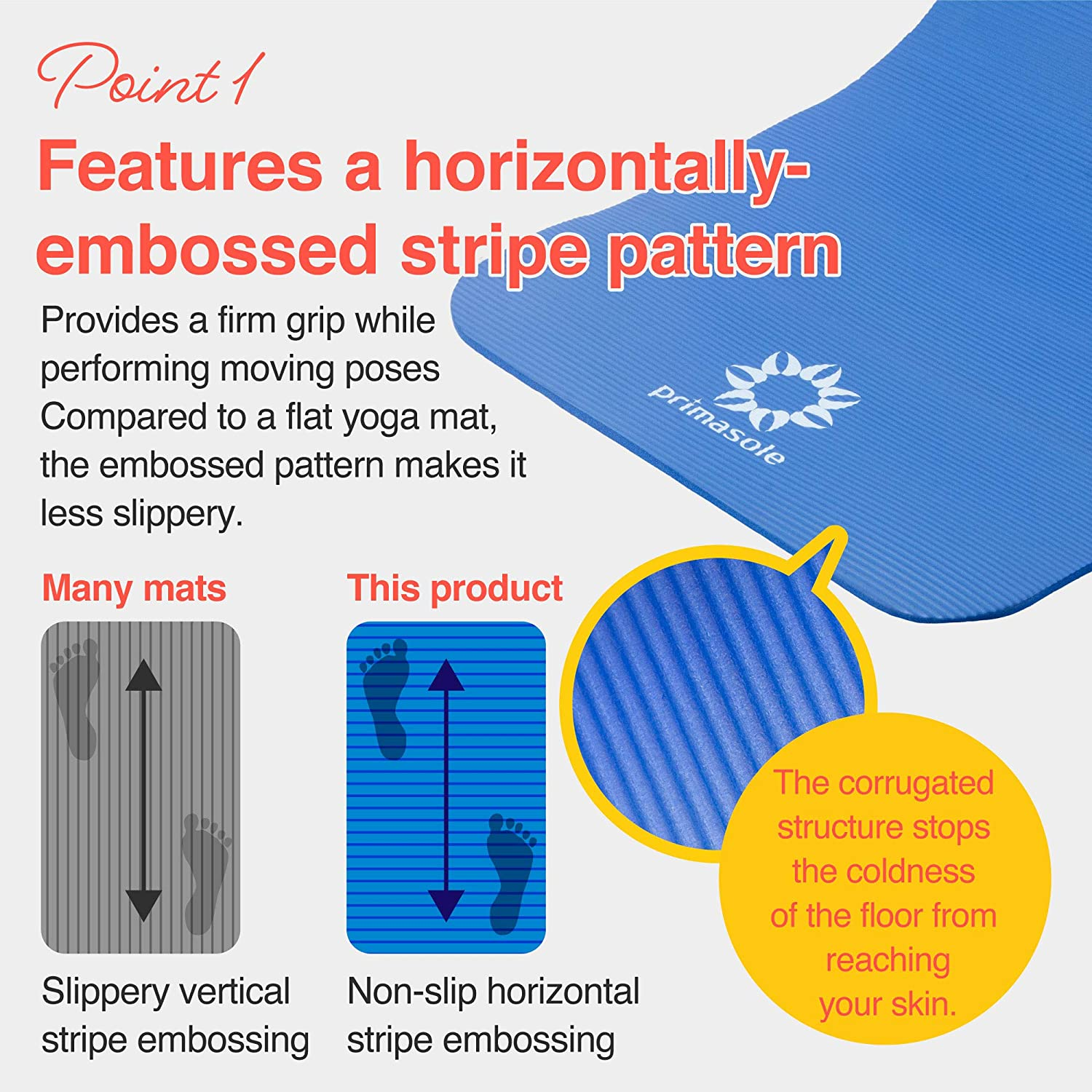 72 L/×24 W/×1//2 Inch Thick PSS91NH032A Primasole 【 Limited Brand】 Yoga Mat Training Mat Non-Slip Horizontal Stripe Embossed with Carrying Strap Storage Case Royal Blue Color