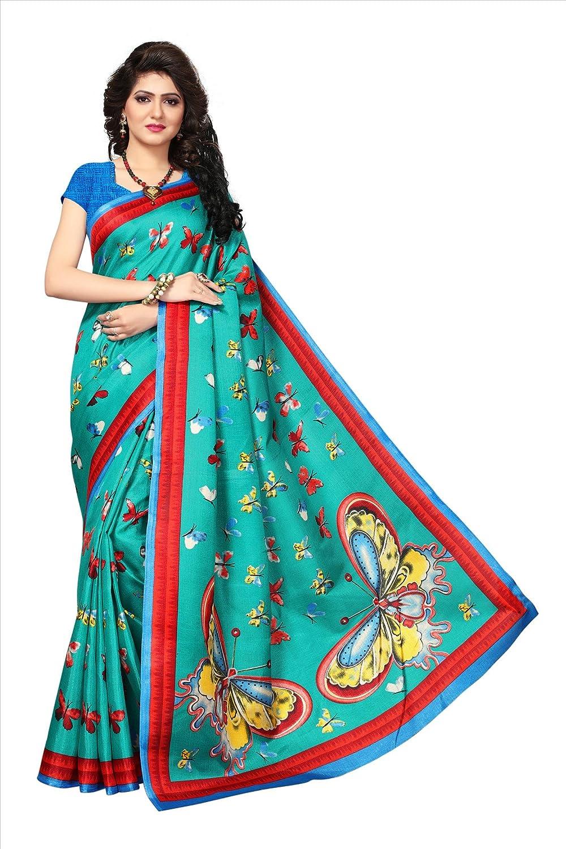 Buy Turquoise Khadi Jute Silk Designer Saree Priska Fashion Sarees For Women Party Wear Half Sarees Offer Designer Below 500 Rupees Latest Design Under 300 Combo Art Silk New Collection 2017 In Latest
