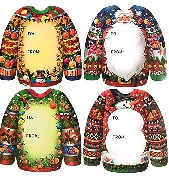 Amazon Com Ugly Sweater Christmas Gift Tags Set Of 20 Ugly