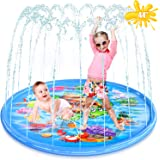 """BAZOVE Upgraded 44"""" Splash Pad, Sprinkle & Splash Play Mat, Inflatable Summer Outdoor Party Sprinkler Pad Water Toys Fun for"""