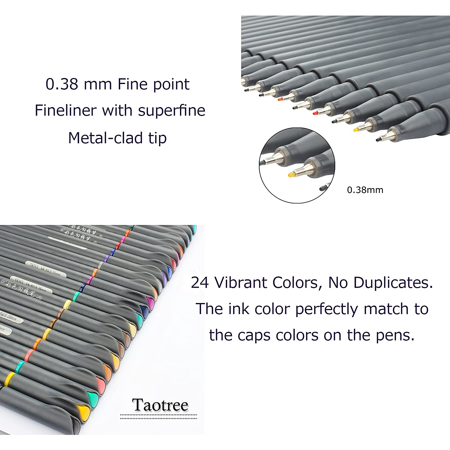 24 Fineliner Color Pens Set, Taotree Fine Line Colored Sketch Writing Drawing Pens for Bullet Journal Planner Note Taking and Coloring Book, Porous Fine Point Pens Markers 4336948059