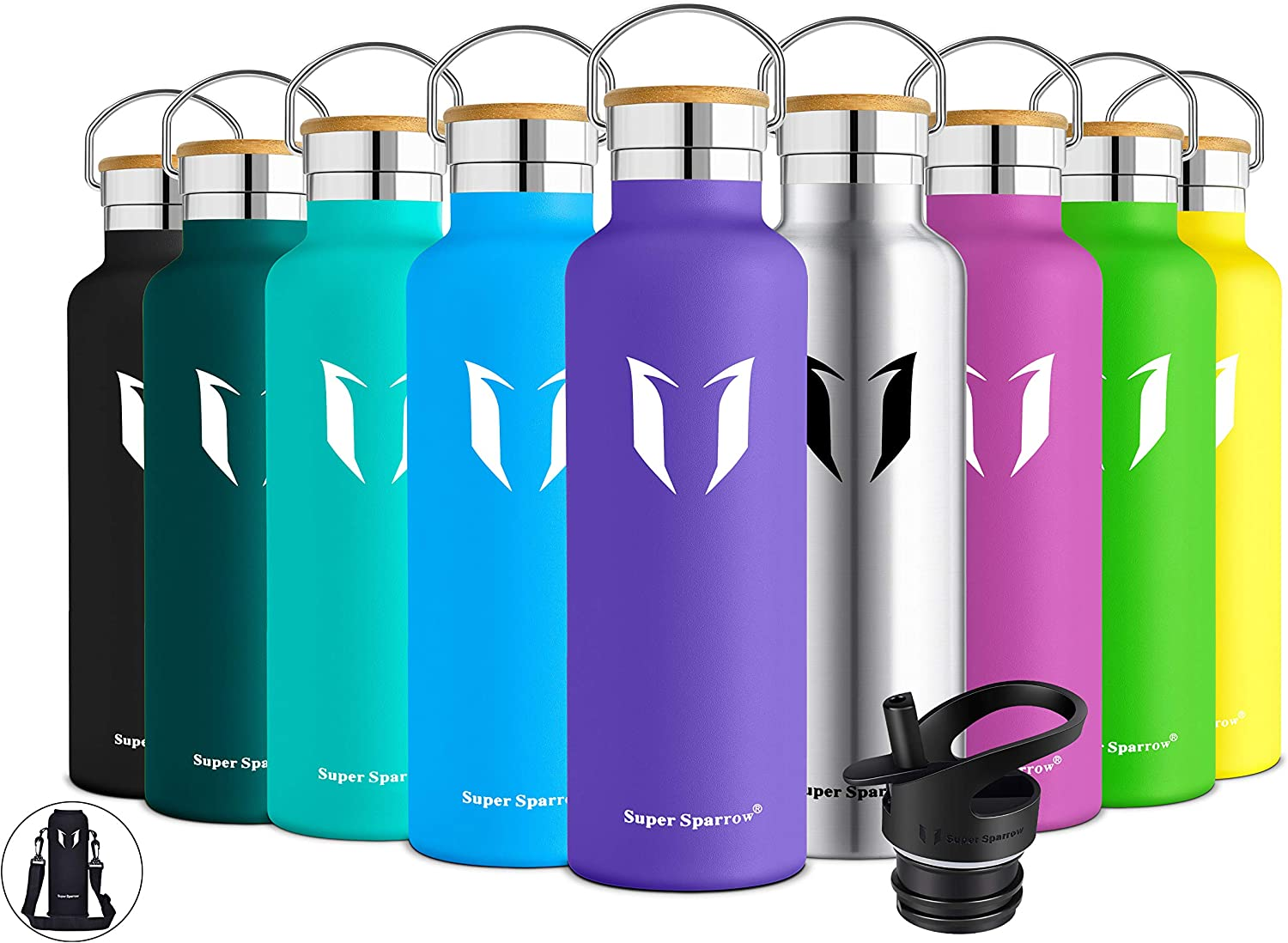 Super Sparrow Stainless Steel Vacuum Insulated Water Bottle, Double Wall Design,Standard Mouth - 500ml & 750ml - BPA Free - with 2 Exchangeable Caps + Bottle Pouch (Lavender, 750ml-25oz)
