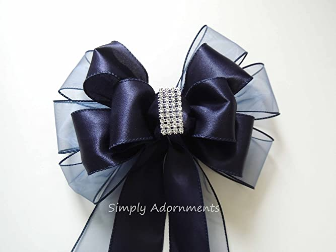navy blue wedding pew bow navy and bling wedding pew bow navy church aisle decoration navy