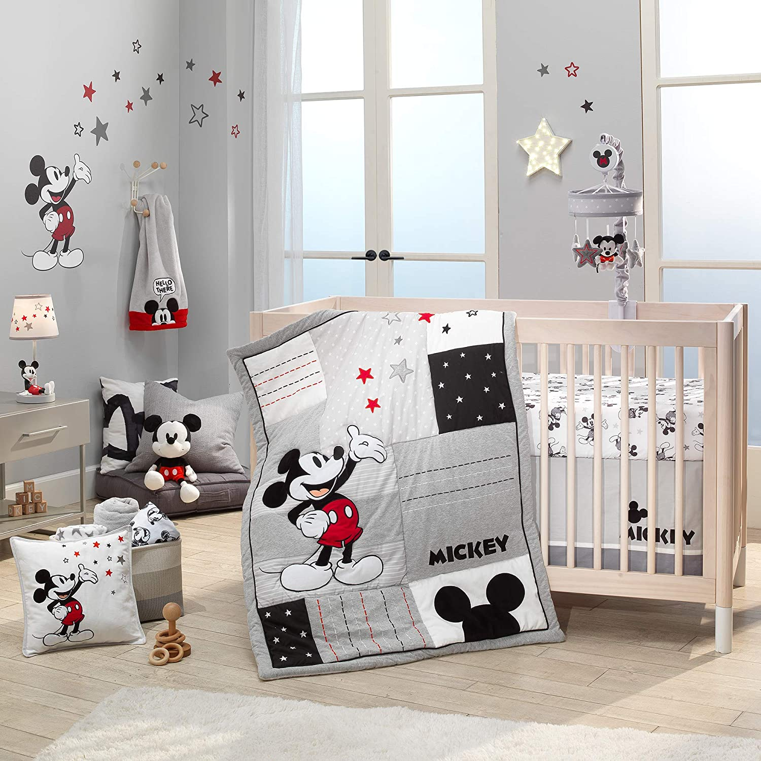 Lambs & Ivy Disney Baby Magical Mickey Mouse 3-Piece Crib Bedding Set - Gray