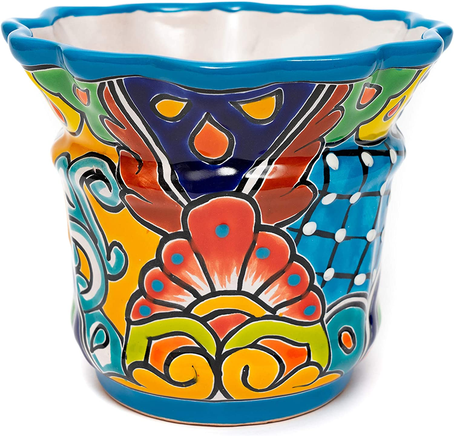 ENCHANTED TALAVERA Mexican Pottery Heavy Weight Ceramic Scalloped Flower Pot Plant Pot Succulent Planter Garden Decor Turquoise (Small (7.5x7))