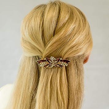 A Beautiful Purple Enamel And Diamanté Flower Ribbon Metal Barrette Hair Clip