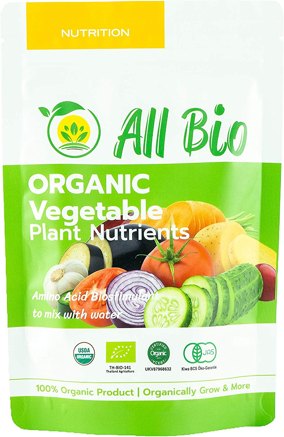 ALL BIO- Organic Plant Food- Vegetable and Edible Greens Nutrients/Biostimulants for Indoor House Plants and Outdoor Plants/Mixed in Water/Foliar Spray. Covers Approx. 9,000 sq.ft (50g)
