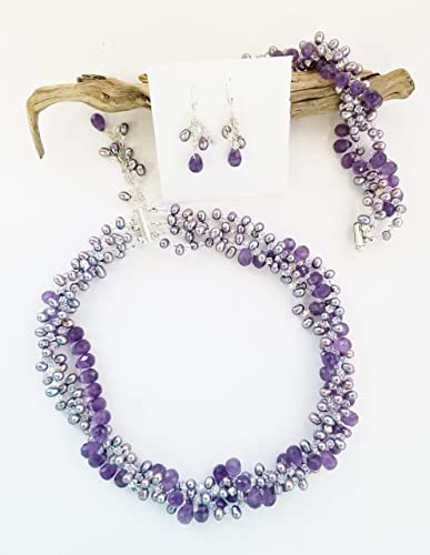 Gorgeous Amethyst Fresh Water Pearl 925 Sterling Silver Necklace