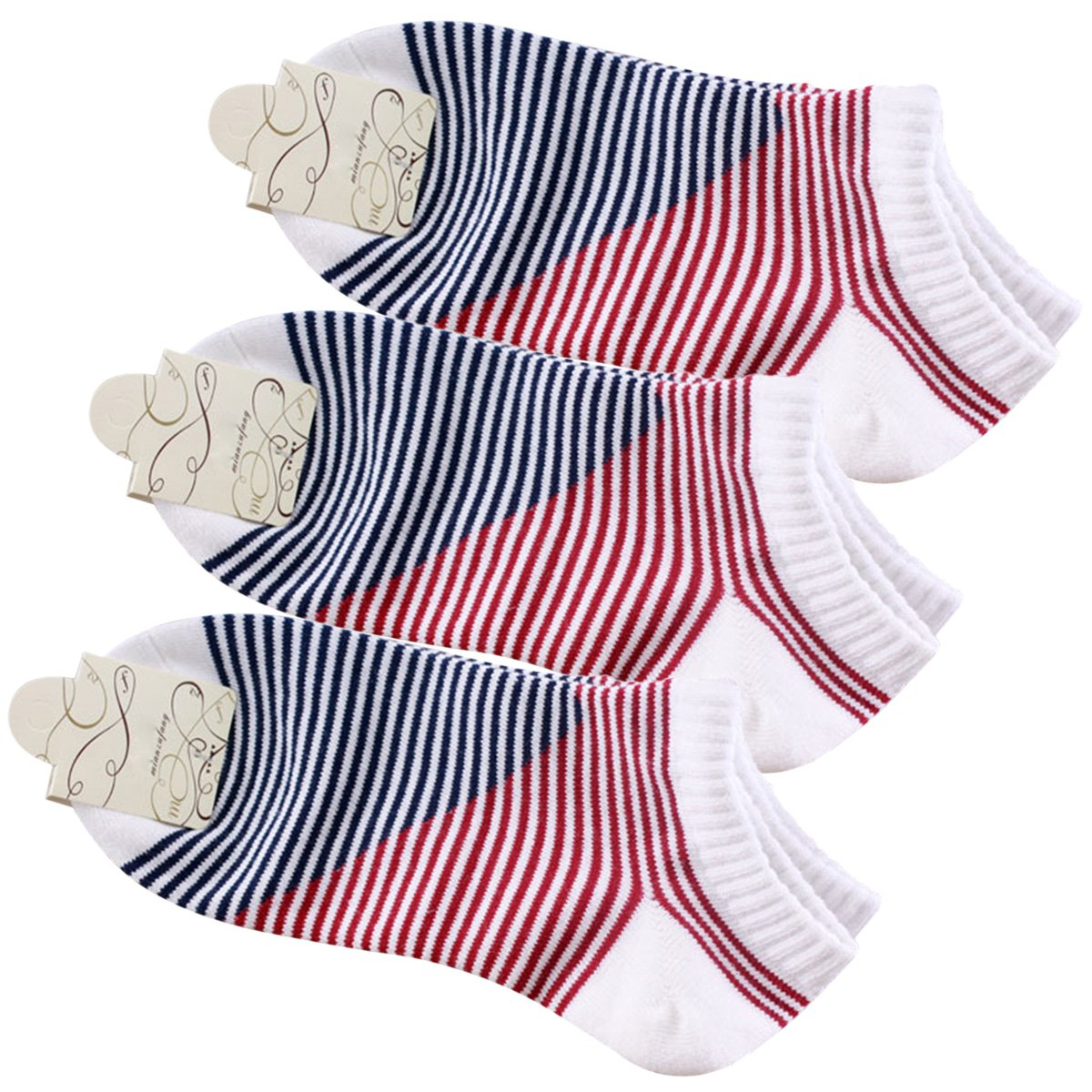 Sasairy 3 Pairs Womens Cotton Low Cut Socks Work Wear Sock Anti Bacterial Invisible Sports Striped Socking