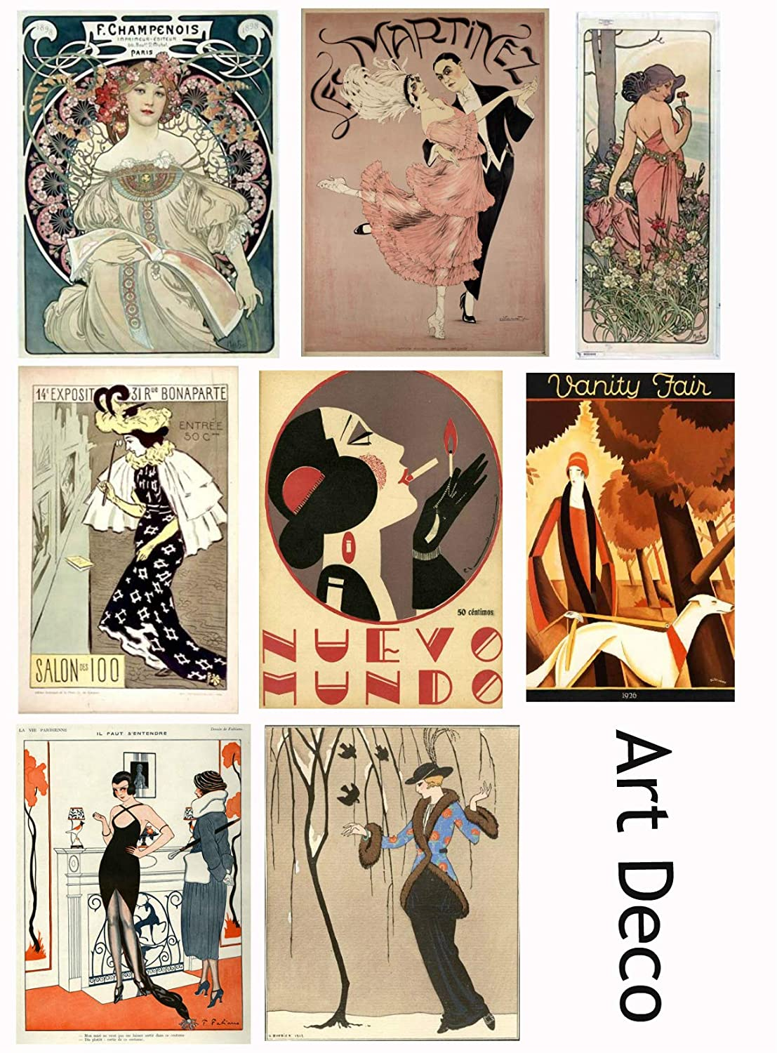 Vintage Printed Art Deco Reproduction Cards Collage Sheet #104 Scrapbooking, Decoupage, Labels Paper Moon Media
