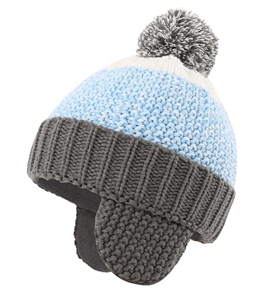 abac5933928452 Connectyle Little Boys Knit Kids Hat with Earflap Fleece Lined Winter Hats  with Pom Beanie Cap