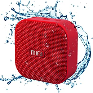 Portable Bluetooth Speaker, MIFA A1 True Wireless Stereo Speaker V4.2, IP56 Dustproof & Waterproof Fabric Design, 12-Hour Playtime, Big HD Sound & Enhanced Bass, Micro SD Card Slot, Built-in Mic, Red