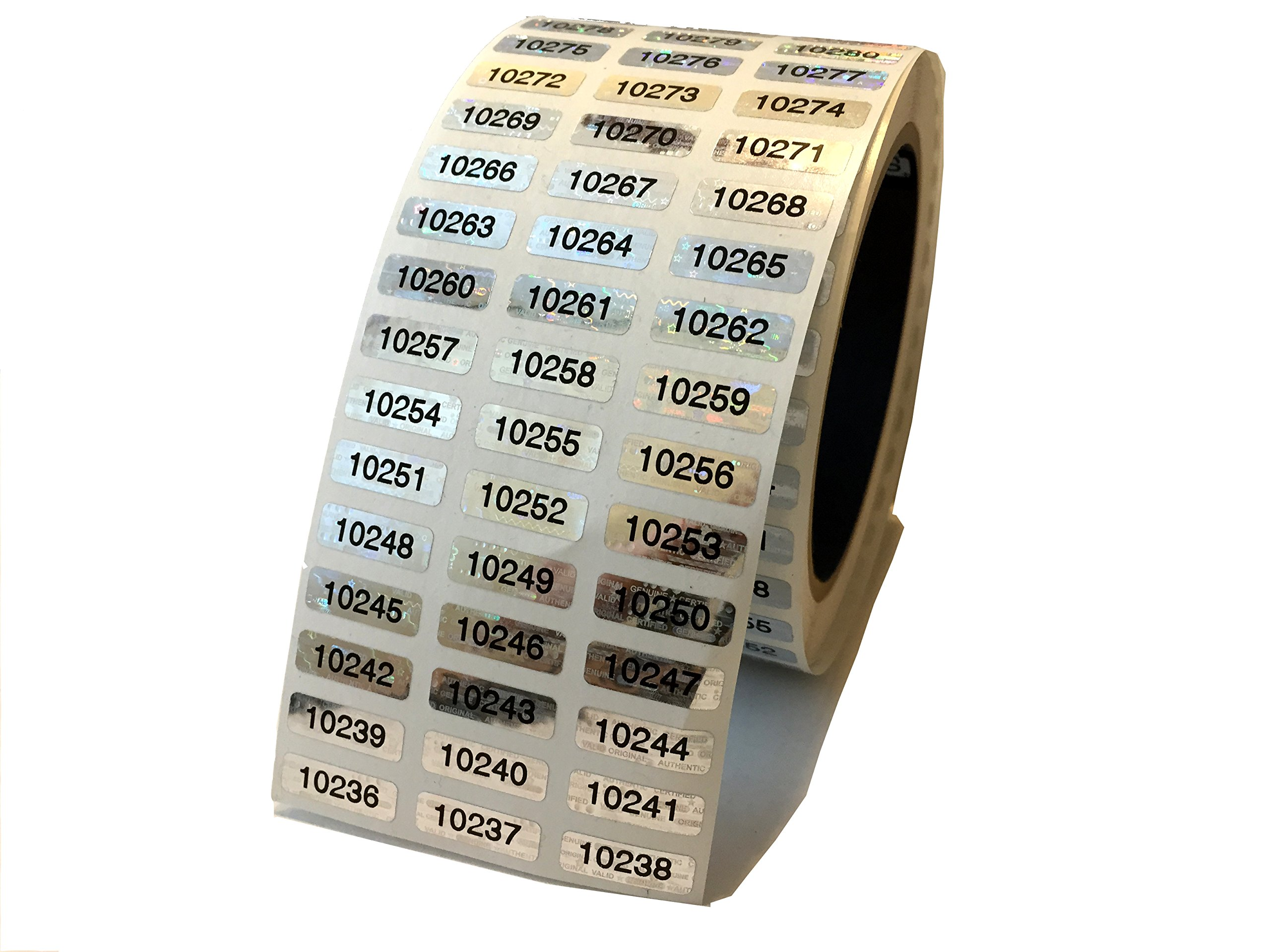 1,000 Silver Hologram Numbered TamperMax Tamper Evident Security Label Holographic Seal Sticker, Size 0.75'' x 0.25'' (19mm x 6mm). by intertronix