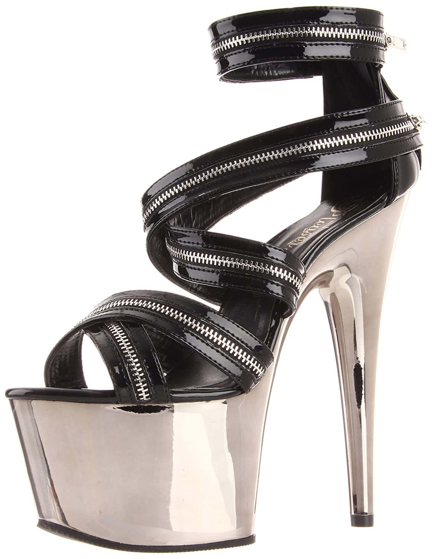 Pleaser Women's Adore-767/B/PWCH Platform Sandal B004QQN876 14 B(M) US|Black/Pewter Chrome