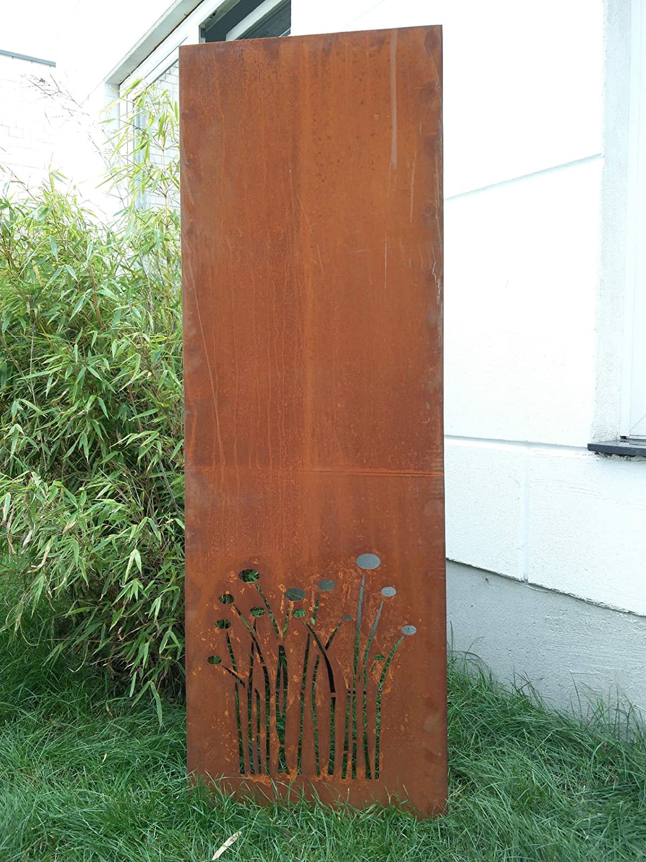 Garten Sichtschutz aus Metall Rost Gartenzaun Gartendeko edelrost Sichtschutzwand PF0004 150502cm