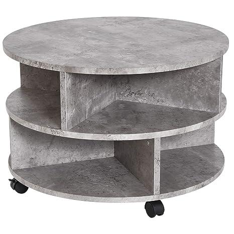 Tavolo Da Salotto Moderno.Homcom Tavolino Da Caffe Da Salotto Moderno Effetto Cemento In Legno