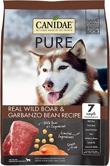 Canidae PURE Grain Free, Limited Ingredient Dry Dog Food, Wild Boar and Garbanzo Bean, 4lbs