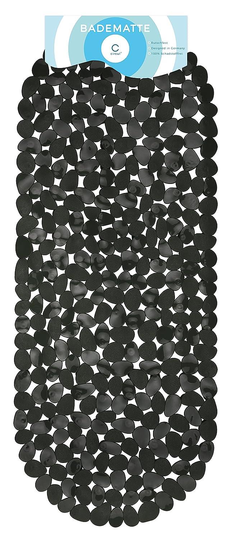 Circul - Tappetino per vasca da bagno, 99x 39cm, colore nero, effetto pietre