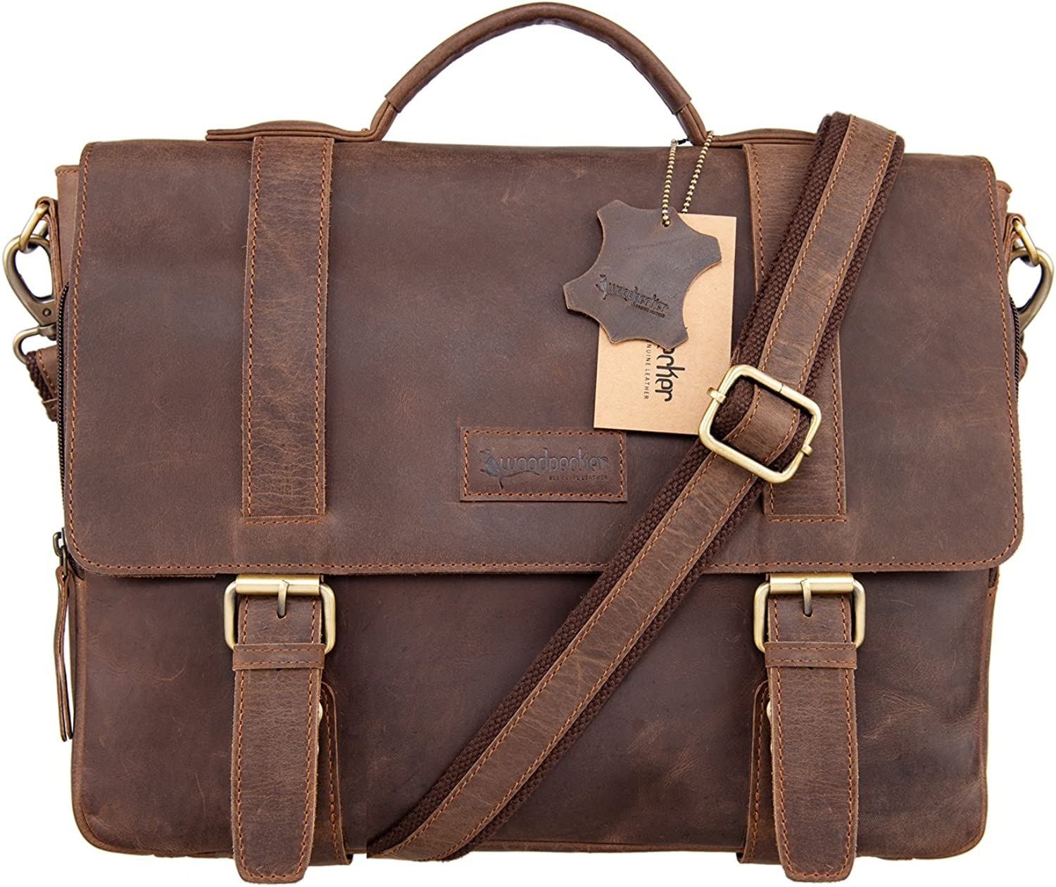 Woodpecker Cowhide 14 inch Leather Laptop Crossbody Shoulder Bag Macbook Briefcase for Mens (Brown)